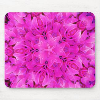 Kaleidoscope Design Hot Pink Floral Art Mouse Pad