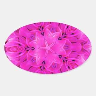 Kaleidoscope Design Hot Pink Floral Art Oval Sticker