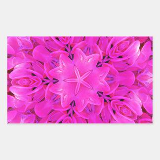 Kaleidoscope Design Hot Pink Floral Art Rectangular Sticker