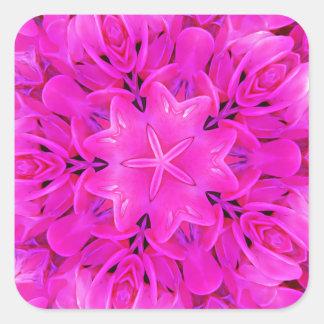 Kaleidoscope Design Hot Pink Floral Art Square Sticker