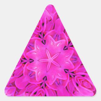 Kaleidoscope Design Hot Pink Floral Art Triangle Sticker