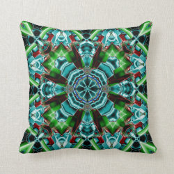 Kaleidoscope Design No.Teal TS2 Throw Pillow