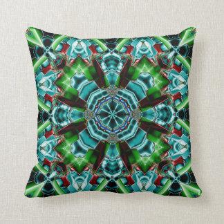 Kaleidoscope Design No.Teal TS2 Throw Pillow