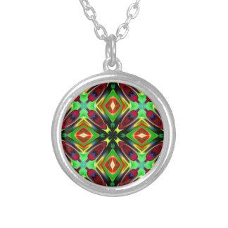 Kaleidoscope Design Silver Plated Necklace