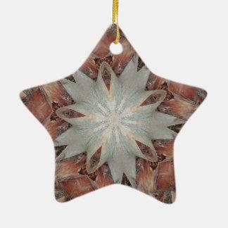 Kaleidoscope Design Star from Trunk of Palm Tree Ceramic Ornament
