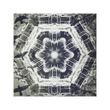 Halloween Themed Kaleidoscope Dock on Water, Black and White Canvas Print