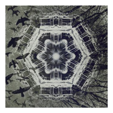 Halloween Themed Kaleidoscope Dock on Water, Black and White Poster