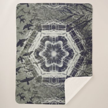 Halloween Themed Kaleidoscope Dock on Water, Black and White Sherpa Blanket