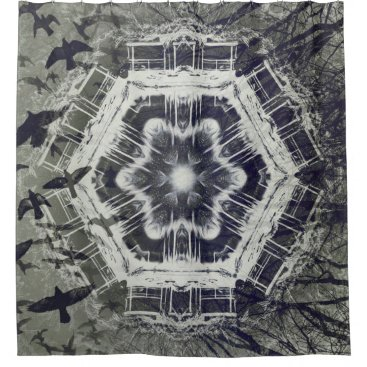 Halloween Themed Kaleidoscope Dock on Water, Black and White Shower Curtain