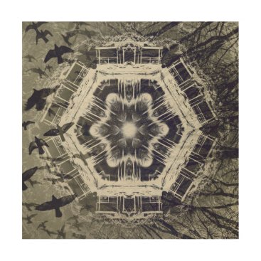 Halloween Themed Kaleidoscope Dock on Water, Black and White Wood Print