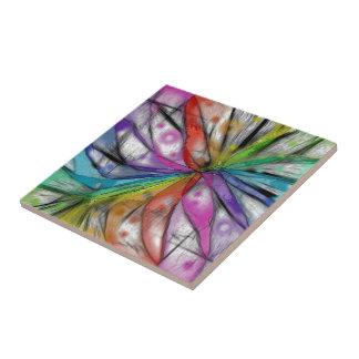 Kaleidoscope Dragonfly Ceramic Tile