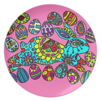 Kaleidoscope Easter Bunny PINK  Plate