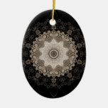 Kaleidoscope Easter Egg Double-Sided Oval Ceramic Christmas Ornament