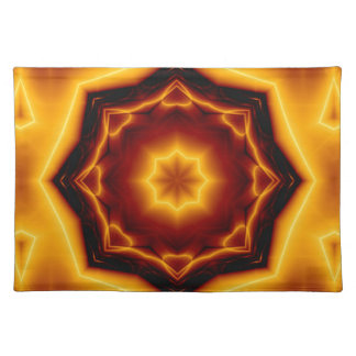 Kaleidoscope Eight Pointed Star on Fire Cloth Placemat