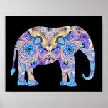Kaleidoscope Elephant Print Poster
