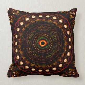 Kaleidoscope eye 4 abstract (brown) Pillow mojo_throwpillow
