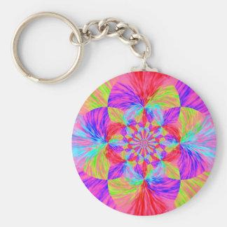 Kaleidoscope Flower Basic Round Button Keychain