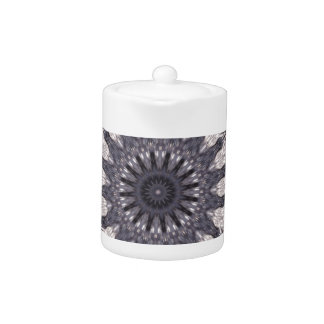 Kaleidoscope Flower Shades of Blue and Grey Teapot