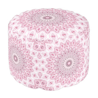Kaleidoscope Flowers Design in Pink and Gray Round Pouf