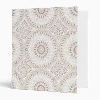 Kaleidoscope Flowers in Elegant Neutral Beige Vinyl Binder