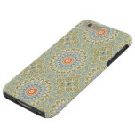 Kaleidoscope Flowers in Green, Blue and Orange Tough iPhone 6 Plus Case