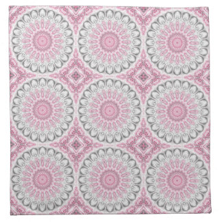 Kaleidoscope Flowers in Mauve, Pink and Gray Printed Napkins