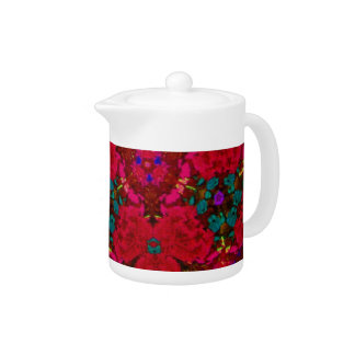 Kaleidoscope Flowers in Red Tea Pot