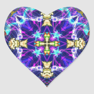 Kaleidoscope Fractal 193 Heart Sticker
