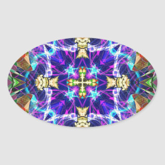 Kaleidoscope Fractal 193 Oval Sticker