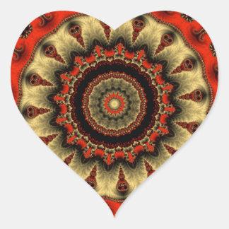 Kaleidoscope Fractal 349 Heart Sticker