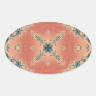 Kaleidoscope Fractal 442 Oval Sticker