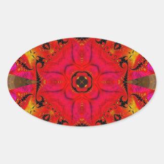 Kaleidoscope Fractal 460 Oval Sticker
