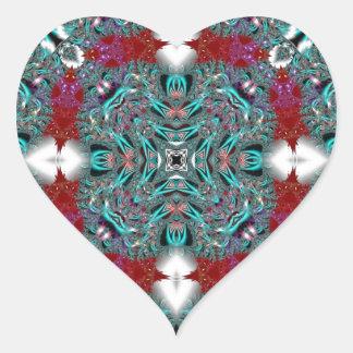 Kaleidoscope Fractal 510 Heart Sticker