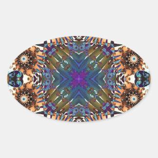 Kaleidoscope Fractal 645 Oval Sticker