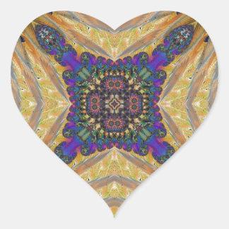 Kaleidoscope Fractal 648 Heart Sticker