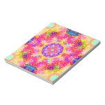 kaleidoscope fractal pink yellow memo pad