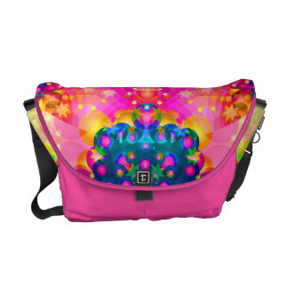 kaleidoscope fractal pink yellow messenger bag