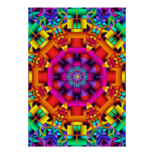 Kaleidoscope fractal poster wth colourful Patterns