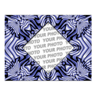 Kaleidoscope frameART - blue + your photo & text Postcard