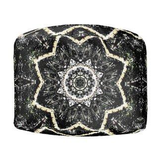Kaleidoscope Gothic Round Pouf