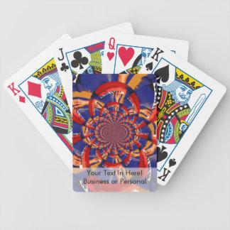kaleidoscope hand playing red keyboard orange blue bicycle playing cards