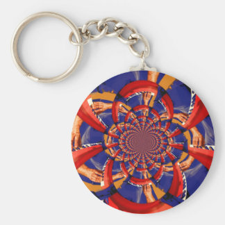 kaleidoscope hand playing red keyboard orange blue keychain