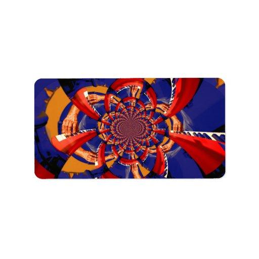 kaleidoscope hand playing red keyboard orange blue custom address label
