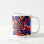 kaleidoscope hand playing red keyboard orange blue mug