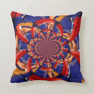 kaleidoscope hand playing red keyboard orange blue throw pillow