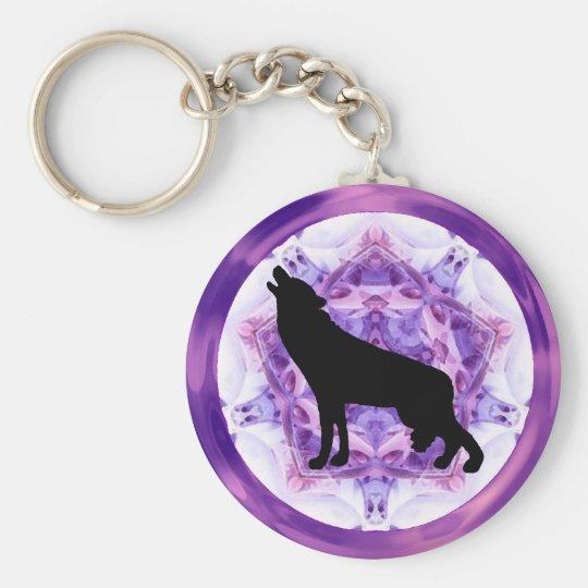 Kaleidoscope Howling Wolf Keychain