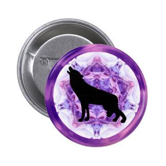 Kaleidoscope Howling Wolf Pinback Button