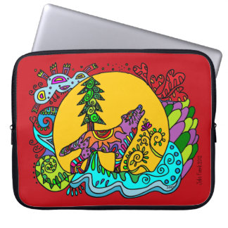 Kaleidoscope Howling Wolf  RED    Sleeve