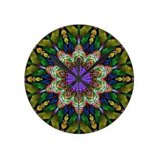 Kaleidoscope in Rich Green Round Clock