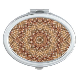 Kaleidoscope Light Brown Star Compact Mirror